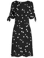 ex-branded Monochrome Polka Dot Spot Fit & Flare Tie Sleeve Dress