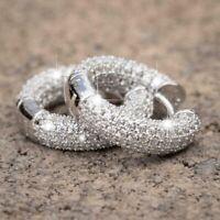 Fashion 925 Silver Hoop Earrings for Women/Men White Sapphire Wedding Earrings