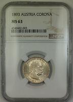 1893 Austria Silver Corona Coin NGC MS-63