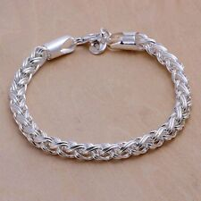 Wholesale 925Sterling Solid Silver Jewelry Cross Link Bracelet For Women H070
