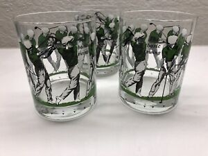 """Vintage Cora 3 Golf Lowball Old Fashioned Glasses """"The basic swing"""""""