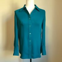 BABATON Aritzia NWT Long Sleeve Blouse Top Size XS Polyester Turquoise