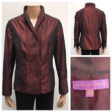ADOLFO DOMINGUEZ Ladies Blazer Size 44 Metallic Burgundy Double Breasted Jacket