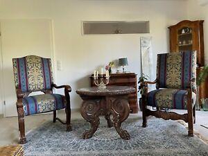 Armlehnsessel antik, Salon-/Sitzgarnitur, 2 Sessel + Löwen Tisch Marmorplatte