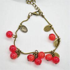 Feminin erfrischend Armspange in Sommer Kupfer Armband mit Rot Kirsche Anhänger
