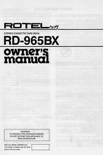 Rotel RD-965BX Cassette Deck Owners Manual