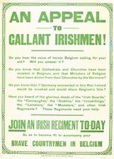 AN APPEAL TO GALLANT IRISHMEN! Vintage Irish WW1 Propaganda Poster