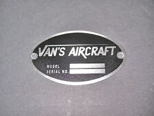 "Vans Aircraft DEA Required ""Aircraft Identification Data Plate"" Etched Stainless"