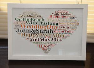 Personalised word art Wedding Day Keepsake Print/Print & frame Unique Gift love