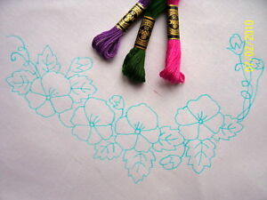 Tablecloth Pansy design circular cotton lace printed embroidery CSOOO8