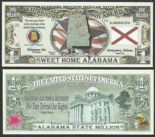 Lot of 25 Bills - ALABAMA STATE MILLION DOLLAR BILL w MAP, SEAL, FLAG, CAPITOL