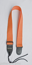 Guitar Strap ORANGE Nylon Leather Ends Fits All Acoustic & Electric Made In USA