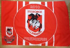 ST GEORGE ILLAWARRA DRAGONS 2010 NRL PREMIERS RARE COLLECTABLE FLAG 58cm x 88cm