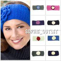 Ladies Flower Crochet Knit Knitted Head Wrap Winter Headband Hair Muffs Band