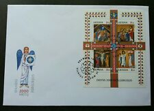 Lithuania Christmas 2000 Christ Angel Festival Religious (ms FDC)