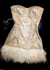 NWT bebe IsIs Dress beige gold sequin feather strapless bustier top L large 10