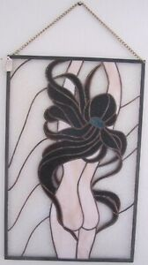 Stained Glass Nude Lady Long Brown Hair Panel - Handmade  16.5 x 25.5 inches