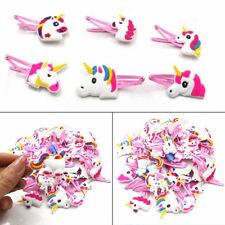 1/6/12PCS Cartoon Unicorn Bow Hairpin Soft Rubber Girls Hair Clip Headwear Decor