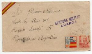 1937 SPAIN TO ARGENTINA CIVIL WAR LUARCA CENSORED COVER, PATRIOTIC !!