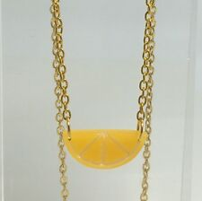 Half Orange Slice Fruit Pendant Necklace Kitsch GolD Chain Chain Small G065 Fun