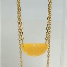 Half Orange Slice Fruit Pendant Necklace Kitsch GolD Chain Chain Small G065 Fun