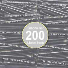 Golf Tees Personalised 83mm Black Wooden Tees - 200 PACK - extra long