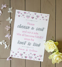 Personalised choose a seat not a side wedding sign Pink and silver