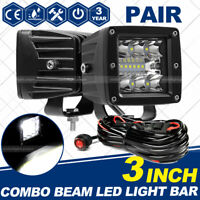 2X 3inch 200W Cube Pods CREE LED Work Light Driving Fog SPOT Light /FLOOD + Wire