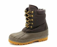 NEXT Older Kids Youth UK 1 Brown Green Water Resistant Fleece Lined Winter Boots