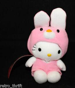 "VTG Sanrio Japan Hello Kitty Plush 16cm 6.25"" Pink Removable Rabbit Bunny Dress"