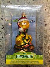 "Kurt Adler 5"" Sesame Street Big Bird Mercury Glass Christmas Ornament Santa Hat"