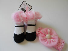 ADORABLE MUD PIE BOUTIQUE NWT  PAIR OF SOCKS WITH MATCHING HEADBAND SO CUTE!!