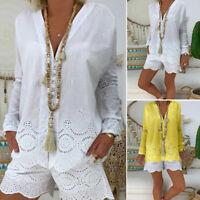Mode Femme Haut Shirt 100% coton Col V Manche Longue Dentelle Asymétrique Plus