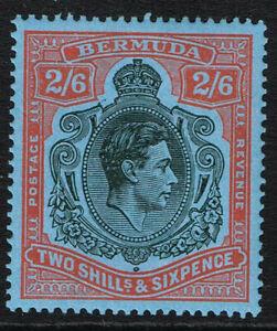 BERMUDA 1943 KG VI 2s6d BLACK & RED/pale blue PERF 14 FINE MOUNTED MINT SG 117b