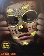 Halloween Body Art Temporary Tattoo -Face Neck - DAY OF DEAD Glow In Dark