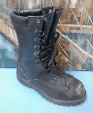 "Matterhorn 8"" Black Leather Military Work Combat Boots Vibram Size 5 W (Youth)"