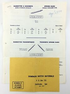 Vintage 1973 Dominion Watch Materials Price List Catalog French English Q761