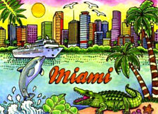 MIAMI FLORIDA SKYLINE FRIDGE COLLECTOR'S SOUVENIR MAGNET 2.5