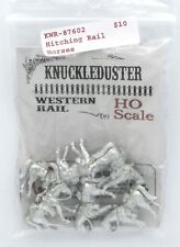 Knuckleduster KWR-87602 Hitching Rail Horses (HO Scale) Old West Animals Mounts