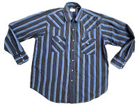 Pearl Snap Long Sleeve Men's Blue Striped Button Shirt Vintage Rider Size Large