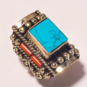 "Tibetan Turquoise Red Coral Gemstone Ethnic Fashion Nepali Ring S-8.50"" PUS-723"