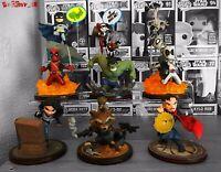 QFig Heroes Collection Iron Man Thor Groot Hulk Spiderman Loki Dr Strange