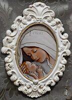 Quadretto quadro capezzale copoletto barocco ceramica Madonna con bambino