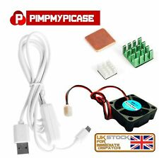 5v Fan Silver Green Copper Heatsink white USB On/Off Power For Raspberry Pi 3