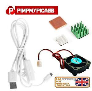 5v Fan Silver Green Copper Heatsink white USB On/Off Power For Raspberry Pi 3