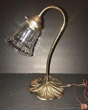 Vintage Goose Neck Brass Table Lamp Filigree Tulip Shade Desk Night Light