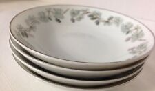 NORITAKE China PINETTA 5689 Berry Bowls Green Silver Pine Cones SET Of 4
