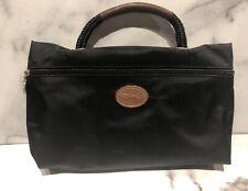 LONGCHAMP Paris Black Nylon Leather Handle Small Clutch Bag