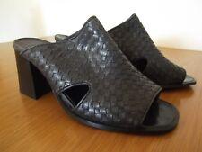 SHOEBOX Shoes Green Plaited Leather Slip On Block Heels On Trend VTG UK Size 6