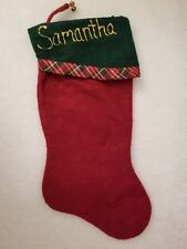 Hand Crafted Red Gold Green Samantha Christmas Stocking